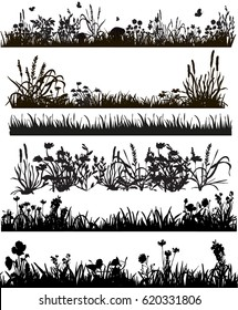 collection of grass silhouettes and plants, box