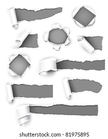 Collection of gray paper. Vector illustration