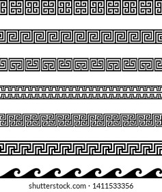 Collection of Greek Key / Meander antique geometric ornamental borders. Seamless decorative set in black color.