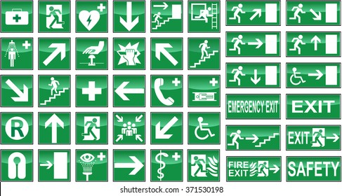 Collection of green health and safety signs isolated