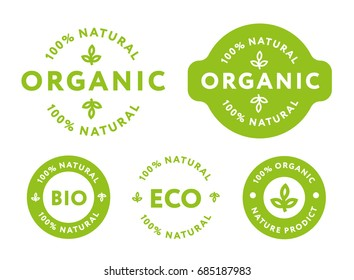 Collection of Green Healthy Organic Natural Eco Bio Food Products Label Stamp.