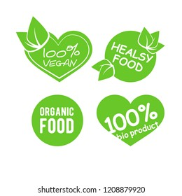 Collection of green label with type and lettering about healthy eco food, vegan. Set of healthy lifestyle stickers with decor elements. World Vegan Day design.