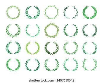 Collection of green laurel wreaths. Can be used as design elements in heraldry on an award certificate, manuscript and to symbolise victory illustration in silhouette