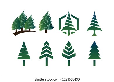 Collection of green pine trees logo icon template vector set