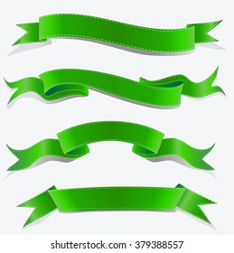 Collection of  green ribbon banners