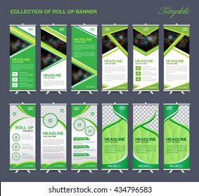 Collection of Green Roll Up Banner Design polygon background, brochure flyer vector, , advertisement, display, stand template