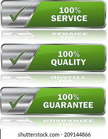 collection of green service buttons