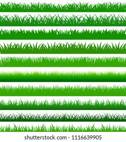 Collection green spring grass cartoon border in length and densities for use as design elements there are many form isolated on white background, Vector Illustration
