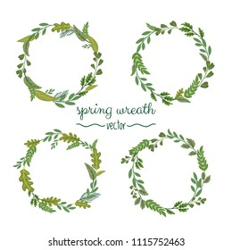 Collection of green spring herbal wreaths for cards on a white background