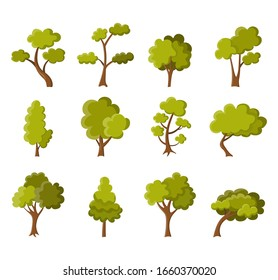 Collection of green summer trees. Different simple trees on white background. Natural illustration.