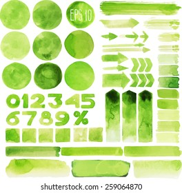 Collection of green watercolor design elements isolated on white background