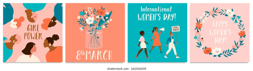 Collection of greeting card or postcard templates with flower bouquet in vase, floral wreath, feminism activists and Happy Women's Day wish. Modern festive vector illustration for 8 March celebration.