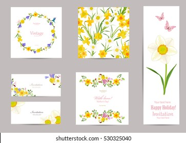 collection of greeting cards with blossom daffodils for your design. seamless texture with spring flowers pattern
