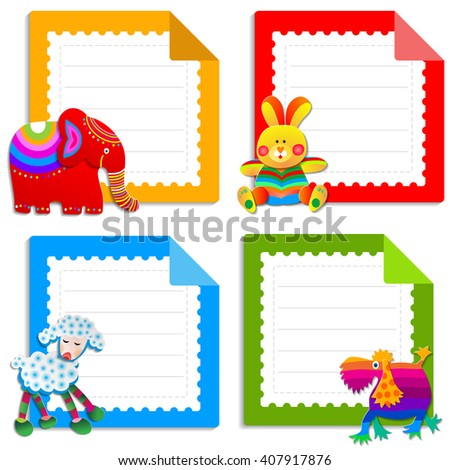 Collection greeting cards kids design pages stock vector royalty collection of greeting cards for kids design the pages for childrens notebooks set of m4hsunfo