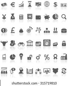 Collection of grey black financial icons or symbols