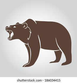 Collection of grizzly bear icons. Vector Illustration