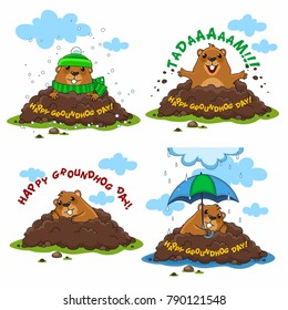 A collection of Groundhog illustrations for design and postcards. A happy Groundhog, a Groundhog with an umbrella in the rain and a sad Groundhog in a hat and with a scarf.