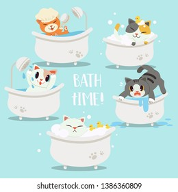 collection of a group of cute character cartoon cat in the bathtub. happy,sad, afraid,sweet,cute,relax.bathtime.Healthcare for cat. a cute cat or kitten in flat vector style.