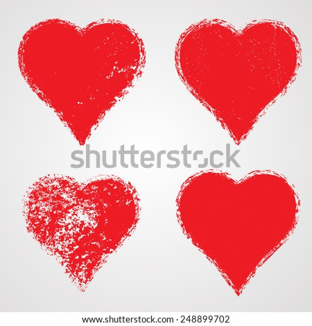 Collection Grunge Hearts Valentines Day Elements Stock Vector