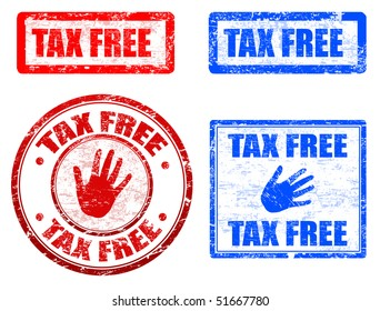 Collection of grunge rubber stamps with the text tax free written inside