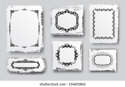 collection of grungy banners with ornamented frames, eps10 format vector drawing
