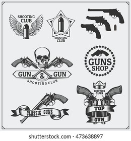Collection of Gun club emblems, labels and design elements. Revolvers, bullets and target.