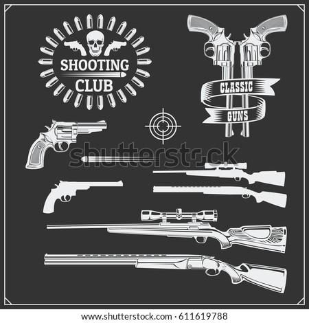 collection guns revolvers shotguns rifles gun stock vector royalty