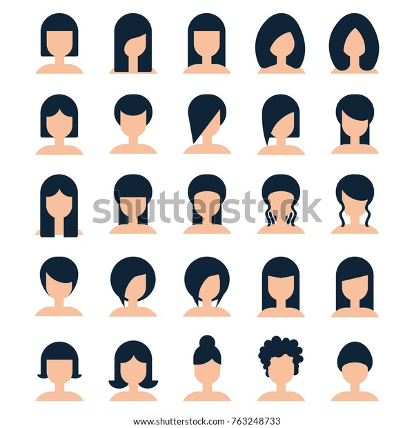 Collection Hairstyle Woman Flat Style Vector Stock Image ...