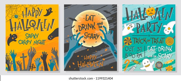 Collection of Halloween greetings with hand painted lettering,ghosts,pumpkins and spider web.Perfect for prints,party flyers,cards,promos,holiday invitations and more.Vector Halloween illustrations.