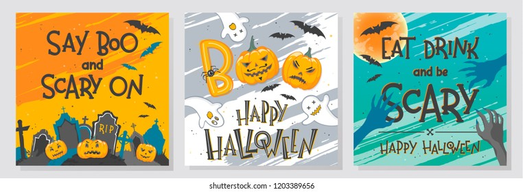 Collection of Halloween greetings with hand painted lettering,ghosts,pumpkins,graveyard and bats.Perfect for prints,party flyers,cards,promos,invitations and more.Vector Halloween illustrations.
