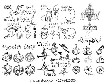 Collection of halloween hand draw set  with ghost, cats, home, pumkins, pumkin lamps and set witch for  scary design