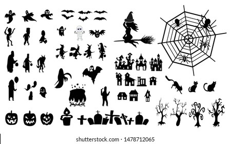Collection of halloween, icons, black, Vector
