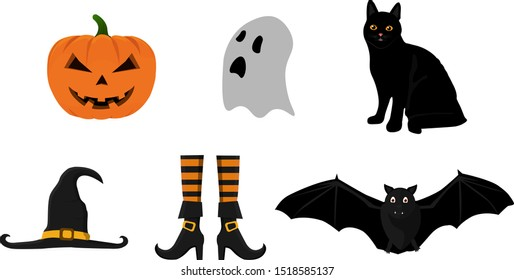 Collection of Halloween illustrations of pumpkin, ghost, cat, witch hat, witch boots and bat. Set of Halloween illustrations in vector