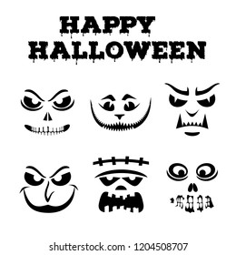 Collection of Halloween pumpkins carved faces silhouettes. Black and white images. Template with variety of eyes, mouths , noses for cut out jack o lantern. Funny monsters stencil set. Vector art