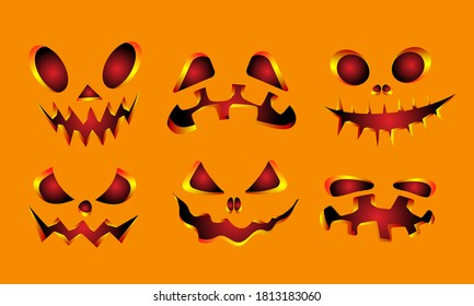 Collection of Halloween pumpkins carved faces silhouettes. Template with variety of eyes, mouths and noses for cut out jack o lantern. Vector illustration