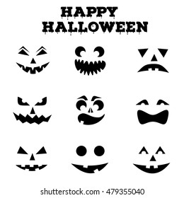 Collection of Halloween pumpkins carved faces silhouettes. Black and white images. Template with variety of eyes, mouths and noses for cut out jack o lantern. Vector illustration