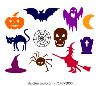 collection of halloween silhouettes - more available. Skull, spider, web, pumpkins, cauldron. Flat design Vector Illustration