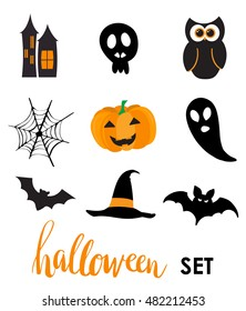 Collection of halloween stickers for your design. Hat, owl, ghost, web, bat, pumpkin, castle symbols. Stickers or vinyl labels design