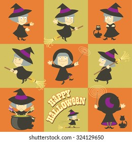 A collection of Halloween witch cartoons. Vector illustration