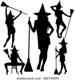 Collection of Halloween witches silhouettes standing with broomstick. Witch icons.