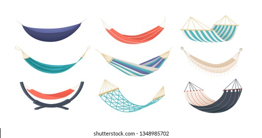 Collection of hammocks of different types isolated on white background. Bundle of tools for summer recreation, relaxation, swinging, sleeping, resting. Decorative vector illustration in modern style.