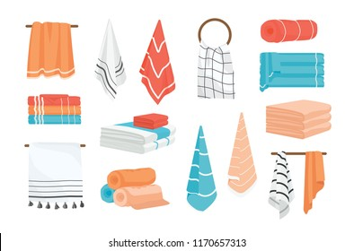 Collection of hand and bath fabric towels rolled, hanging on rail or ring, lying in stack. Bundle of design elements isolated on white background. Colorful vector illustration in realistic style.