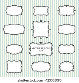 Collection of hand draw blank vintage frames on striped background, vector illustration, eps 10