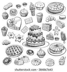 Collection of hand drawing baking and sweets on a white background