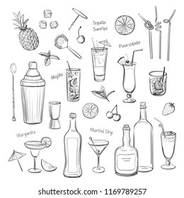 Collection of hand drawings of cocktails and bartender tools. Isolated graphics on a white background