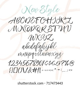 Collection of hand drawn alphabet letters with numbers. Alphabet letters: lowercase, uppercase, numbers. Vector alphabet. Ink illustration. Modern brush calligraphy. Isolated on white background.
