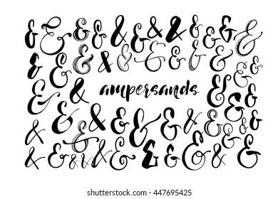 Collection of hand drawn ampersands. Hand drawn calligraphy elements for your design. Ink illustration. Modern brush calligraphy. Isolated on white background.