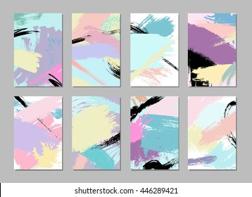 Collection of hand drawn artistic creative universal cards templates. Wedding, anniversary, birthday, Valentine's day, party, poster, card, invitation, placard, brochure, flyer, business.