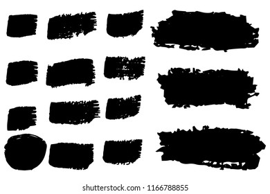 Collection of hand drawn black grunge brushes. Vector Grunge Brushes. Dirty Artistic Design Elements. Creative Design Elements. White background. Distress Frame, Logo, Banner, Wallpaper.