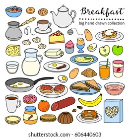Collection of hand drawn buffet style breakfast dishes including eggs, pancakes, beverages, fruits, sandwiches, cereals and yogurt isolated on white background.